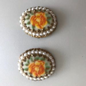 Vintage Floral Earrings with Pearl Border